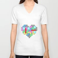 tetris V-neck T-shirts featuring Tetris Heart by #dancingpenguin