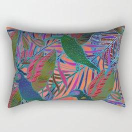 Watercolor textured seamless tropical pattern. Humming bird. Rectangular Pillow