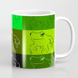 Green tree frog pattern, drawings of frogs, in green, for stickers, frog stickers, Coffee Mug