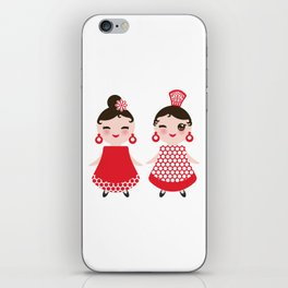 Spanish Woman flamenco dancer. Kawaii cute face with pink cheeks and winking eyes. Gipsy girl iPhone Skin