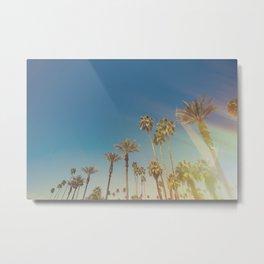 Palm Springs,California Palm Trees Sunburst Metal Print