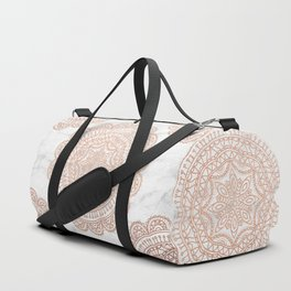 Mandala - rose gold and white marble 2 Duffle Bag