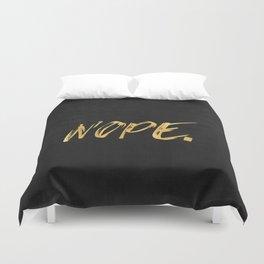 NOPE Copper Gold on Black Duvet Cover
