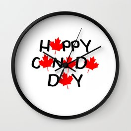 Happy Canada Day Maple Leaf Letters  Wall Clock