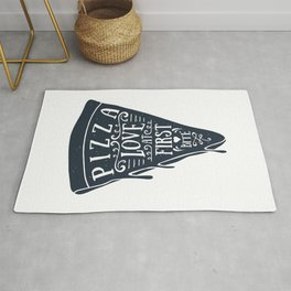 Hand Drawn Pizza Slice. Love At First Bite. Lettering Rug