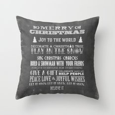 Christmas Chalk Board Typography Text Throw Pillow