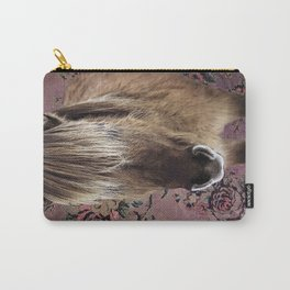 Icelandic pony with rosy posies Carry-All Pouch