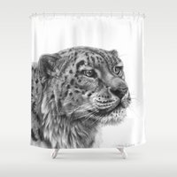 snow leopard Shower Curtains featuring Snow Leopard G095 by S-Schukina