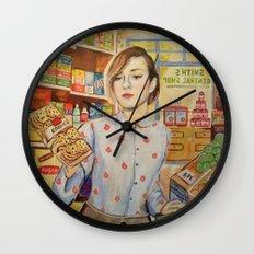 Supermarket vintage, painting, retro Wall Clock
