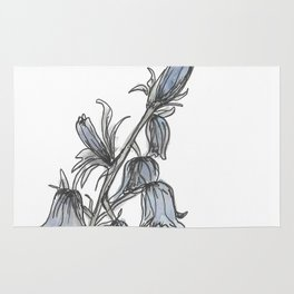 tough blue flower quote Rug
