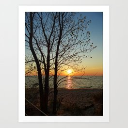 Sunset at Pere Marquette Beach Art Print