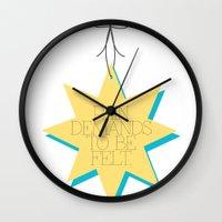 pain Wall Clocks featuring Pain by Sarah Turbin