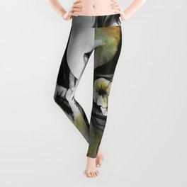 Shame On You (flowers tattoo nude lady portrait) Leggings