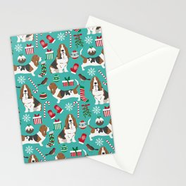 Basset Hound christmas pattern print pet friendly dog breed art for holiday decor Stationery Cards