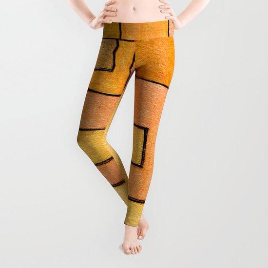 Protoglifo 04 'yellow hugging pink' Leggings