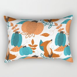 Pumpkins, Foxes, and Leaves on White Rectangular Pillow