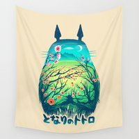 hayao miyazaki Wall Tapestries featuring He Is My Neighbor by Victor Vercesi