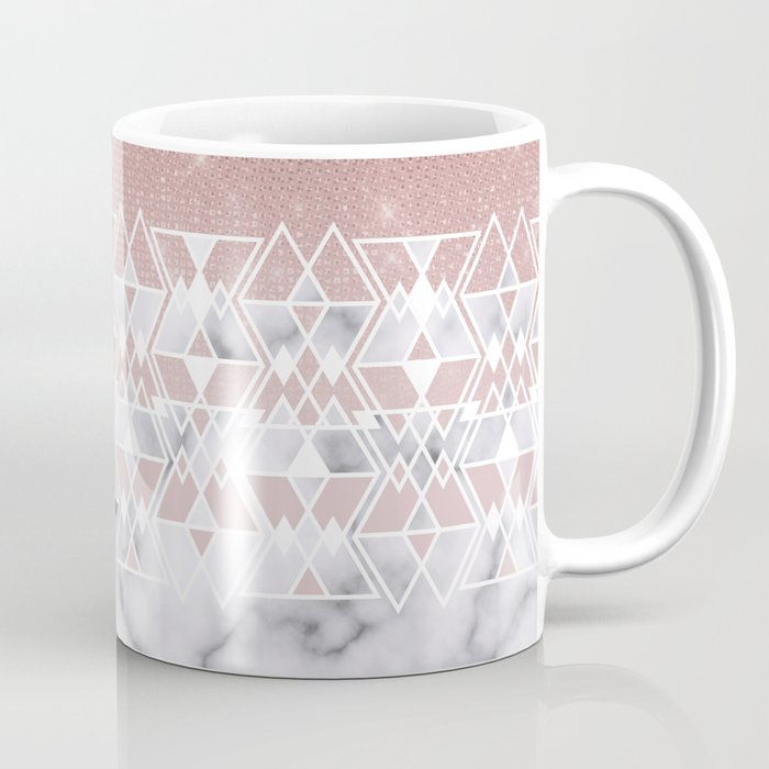 Modern Rose Gold White Marble Geometric Ombre Coffee Mug