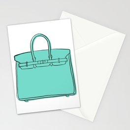 Teal / Sea Green Birkin Vibes High Fashion Purse Illustration Stationery Cards