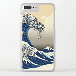 The Great Wave of Pugs Vanilla Sky Clear iPhone Case