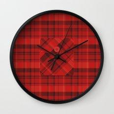 Plaid Pocket - Red Wall Clock