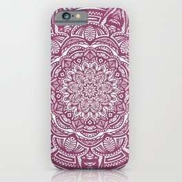 Wine Maroon Ethnic Detailed Textured Mandala iPhone Case