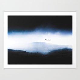 Misty Mountains Low Cloudy Sky Birds Landscape Art Print