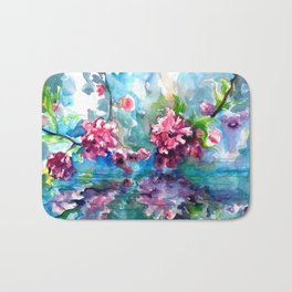 CHERRY TREE MIRRORING IN THE WATER - WATERCOLOR Bath Mat
