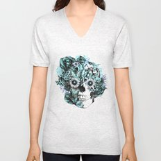 Blue grunge ohm skull Unisex V-Neck