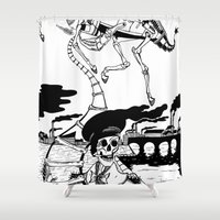 led zeppelin Shower Curtains featuring Zeppelin by Saskia Juliette