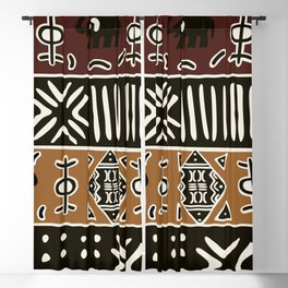 African mud cloth with elephants Blackout Curtain