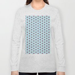 Pink and burgundy flowers on blue Long Sleeve T-shirt