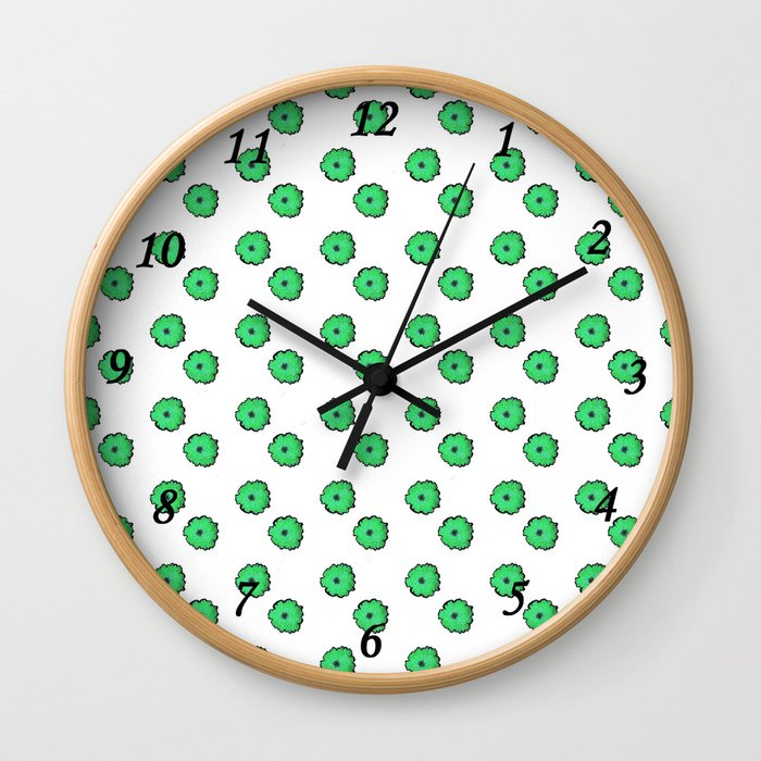 Green flowers on white Wall Clock