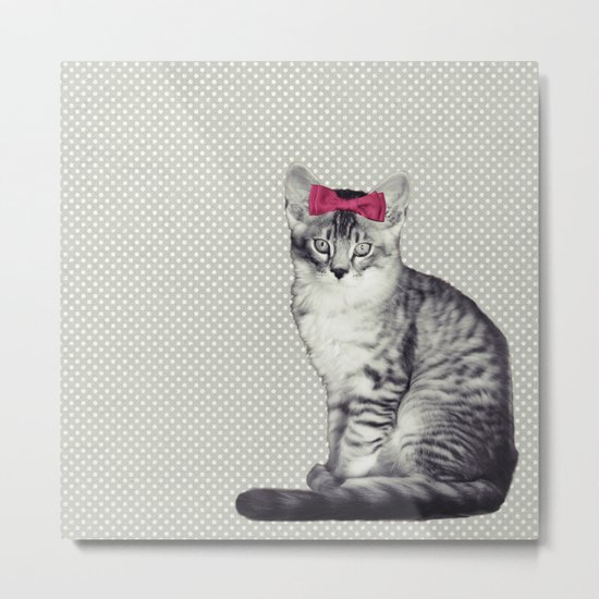 Cat with a Bow Metal Print