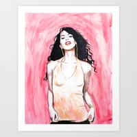 aaliyah Art Prints featuring AALIYAH by jhighart