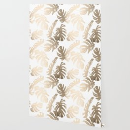 Simply Tropical Palm Leaves in White Gold Sands Wallpaper