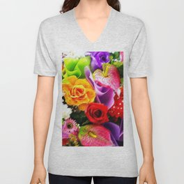 Bouquet of Roses, Carnations, Lilies, Tulip Still Life Painting by Jeanpaul Ferro Unisex V-Neck