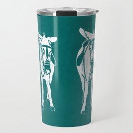Seaside Donkeys in Turquoise Travel Mug