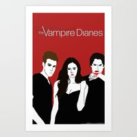 vampire diaries Art Prints featuring The Vampire Diaries  by Chandler Payne