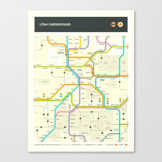 UTAH HIGHWAY MAP Canvas Print