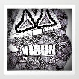 Mask 4: Repressed (B&W) Art Print