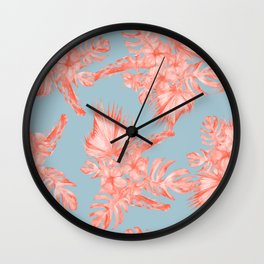 Dreaming of Hawaii Coral on Ocean Blue Wall Clock