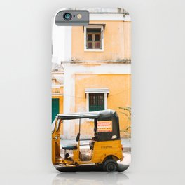 Yellow Tuktuk and Yellow Building in Pondicherry, India | Travel Photography | iPhone Case