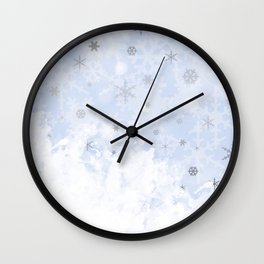 Silver snowflakes on blue Wall Clock