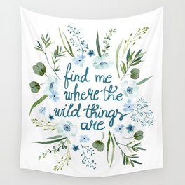 Floral Quote Blue Wall Tapestry