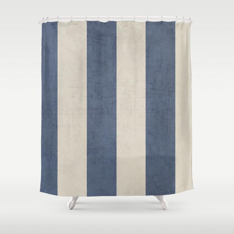 Vintage Dark Blue Stripes Shower Curtain