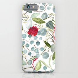 Eucalyptus Kangaroo paw watercolor floral design iPhone Case