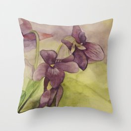 Lily Watercolor Painting Throw Pillow