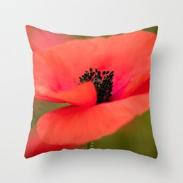 Poppy flower with morning dew. Throw Pillow