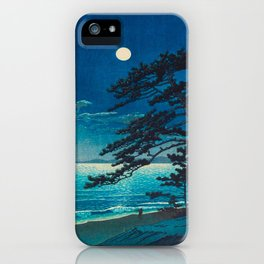 Vintage Japanese Woodblock Print Moonlight Over Ocean Japanese Landscape Tall Tree Silhouette iPhone Case